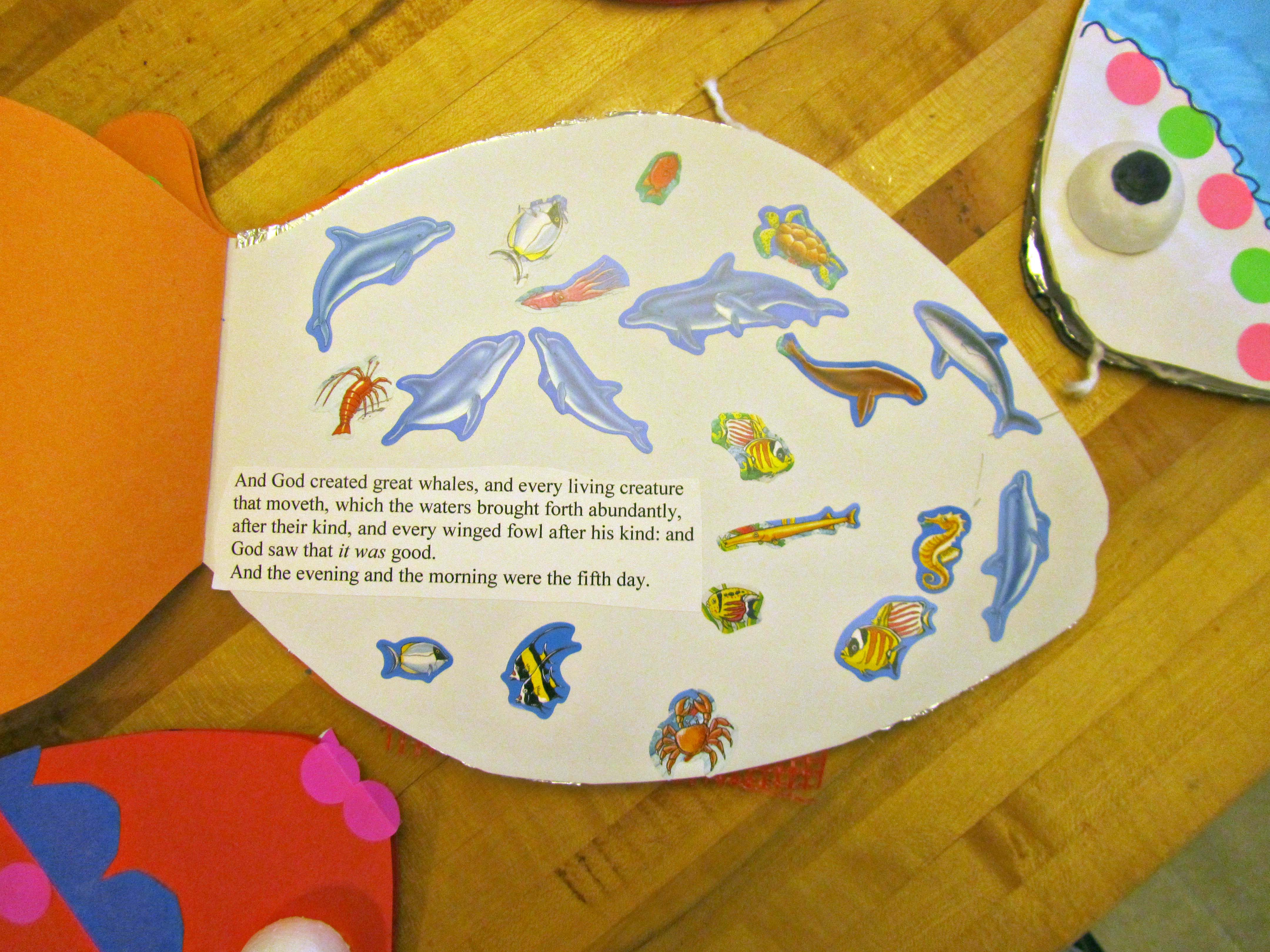 Sunday sunday school project finished fish books my whit for Assignment first page decoration